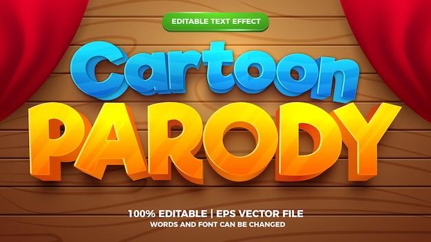 Bewerkbaar teksteffect - 3d-sjabloon voor cartoonparodie
