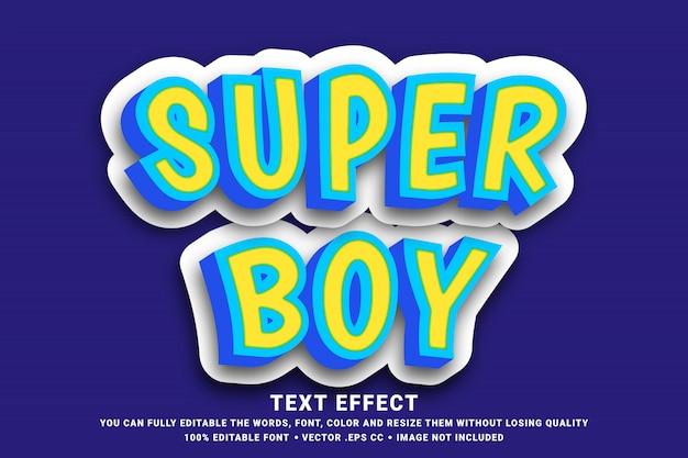 Bewerkbaar teksteffect - 3d super jongen