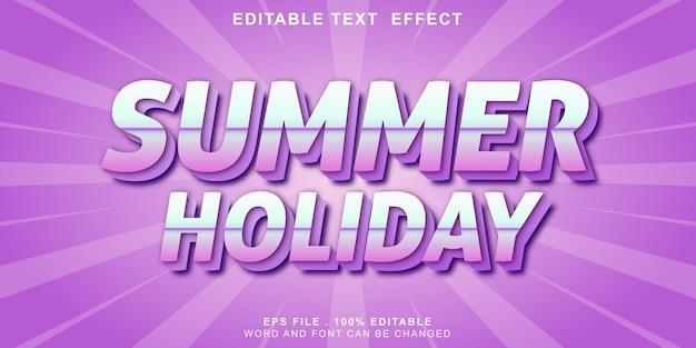 Bewerkbaar teksteffect 3d zomervakantie