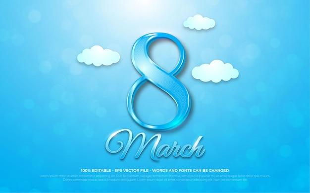 Bewerkbaar teksteffect, 8 maart 3d-stijlillustraties