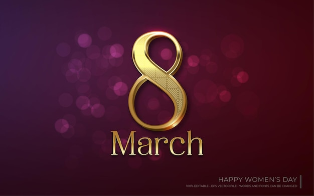 Bewerkbaar teksteffect, 8 maart gouden glansstijl