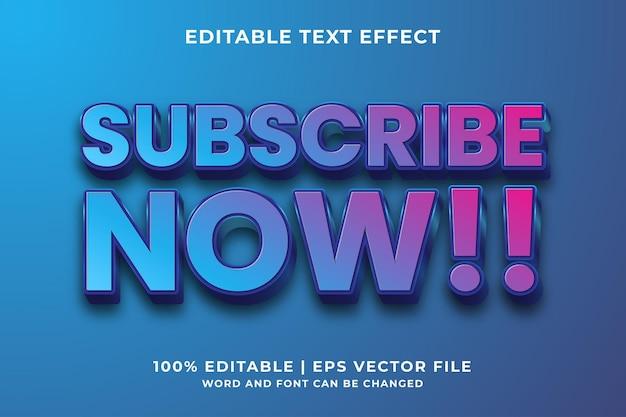 Bewerkbaar teksteffect - abonneer u nu op sjabloonstijl premium vector