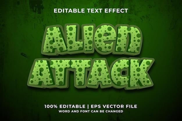 Bewerkbaar teksteffect - alien attack cartoon-sjabloonstijl premium vector