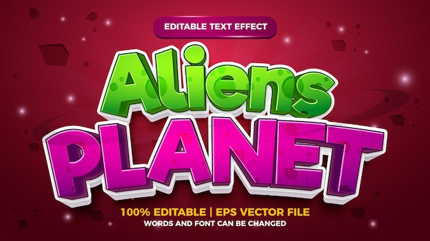Bewerkbaar teksteffect - aliens planet cartoon stijl 3d-sjabloon
