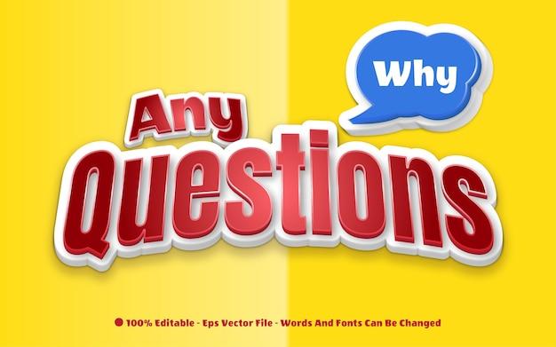 Bewerkbaar teksteffect alle vragen-stijlillustraties