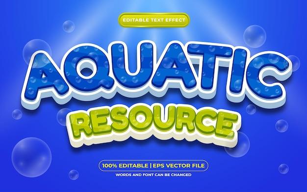 Bewerkbaar teksteffect aquatische hulpbronnen 3d-sjabloon op diepzee-achtergrond