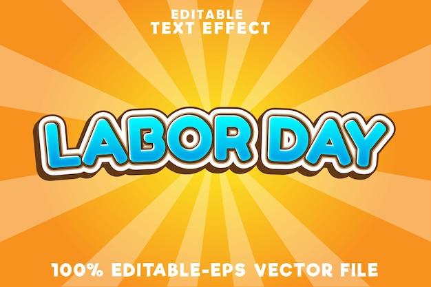 Bewerkbaar teksteffect arbeidsdag met vintage arbeidsdagstijl
