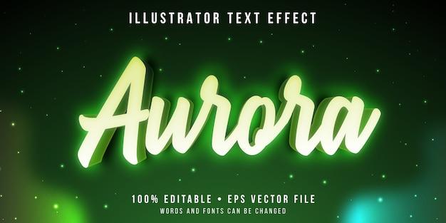 Bewerkbaar teksteffect - aurora lichtstijl