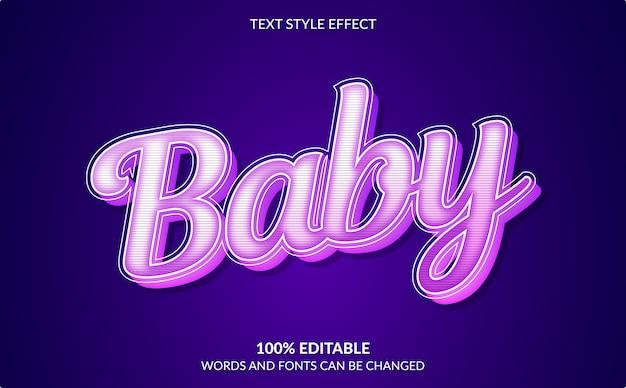Bewerkbaar teksteffect, babytekststijl