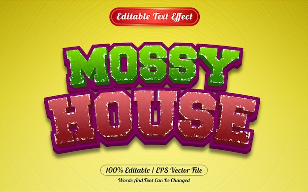 Bewerkbaar teksteffect bemoste huissjabloonstijl
