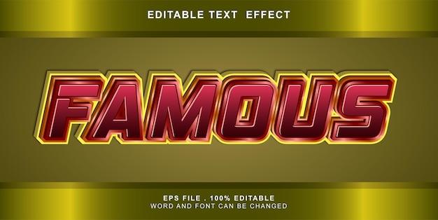 Bewerkbaar teksteffect beroemd