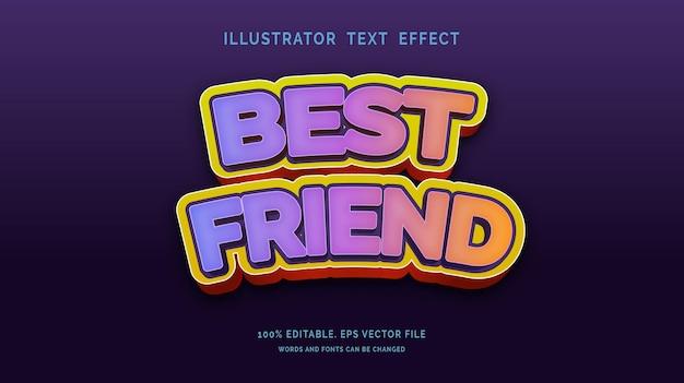 Bewerkbaar teksteffect beste vriend-stijl