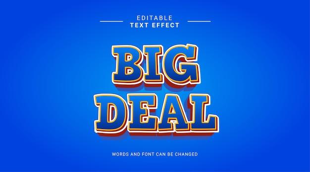 Bewerkbaar teksteffect big deal verkoop winkel vet cartoon concept geel blauwe kleur