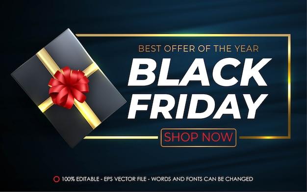 Bewerkbaar teksteffect, black friday roodgouden geschenkstijl