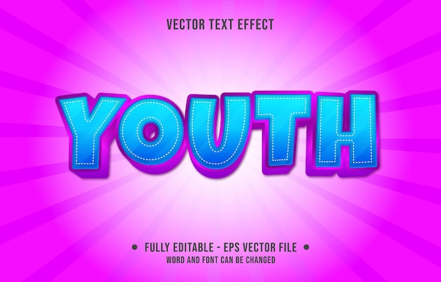 Bewerkbaar teksteffect - blauwe jeugd en roze kleurverloopstijl