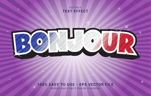 Bewerkbaar teksteffect, bonjour france-stijl kan worden gebruikt om titel te maken