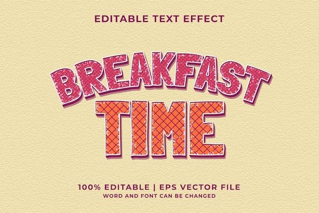 Bewerkbaar teksteffect - break fast retro sjabloonstijl premium vector