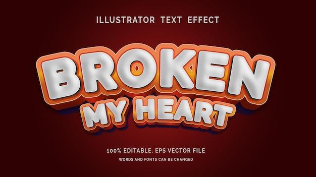 Bewerkbaar teksteffect broken my heart-stijl