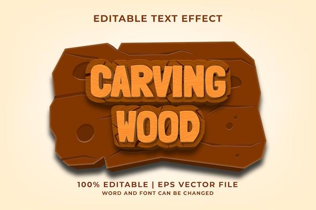 Bewerkbaar teksteffect - carving wood 3d-sjabloonstijl premium vector