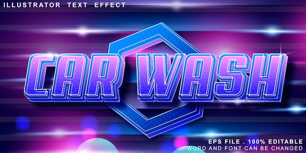 Bewerkbaar teksteffect carwash-logo