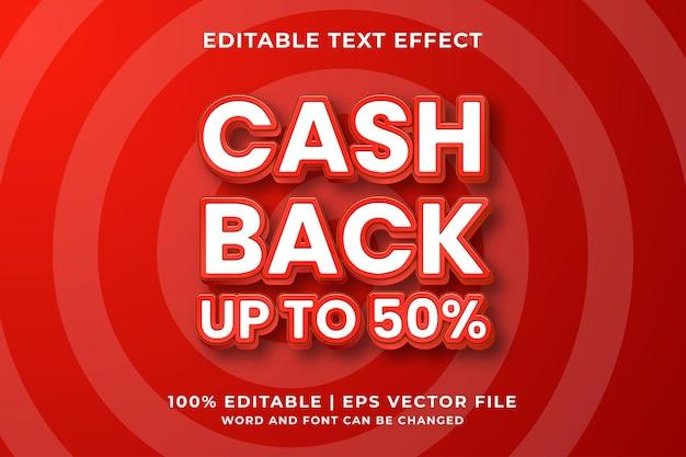 Bewerkbaar teksteffect - cash back 3d-sjabloonstijl premium vector