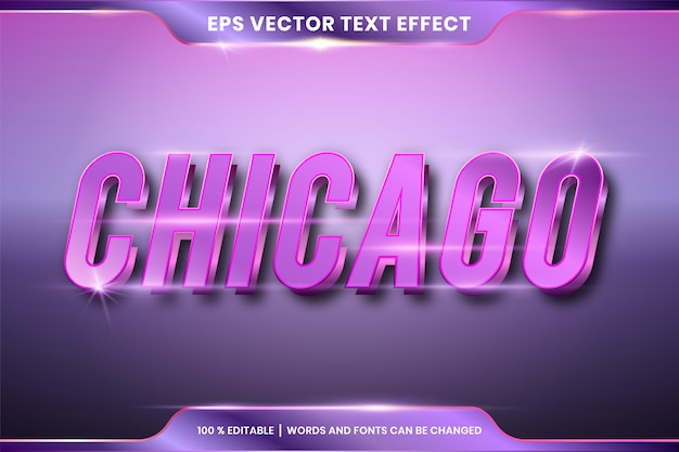 Bewerkbaar teksteffect - chicago tekststijl mockup concept paarse kleur