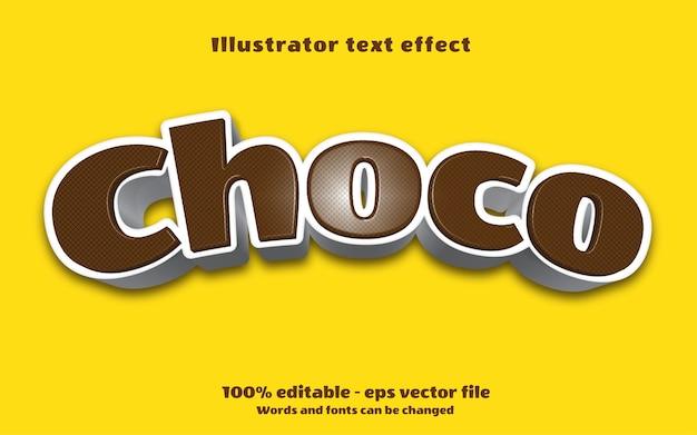 Bewerkbaar teksteffect choco-illustraties in vetgedrukte stijl