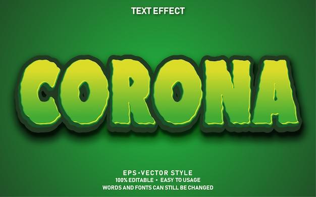 Bewerkbaar teksteffect corona