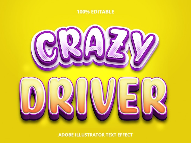Bewerkbaar teksteffect - crazy driver-titelstijl