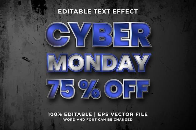Bewerkbaar teksteffect - cyber monday-sjabloonstijl premium vector