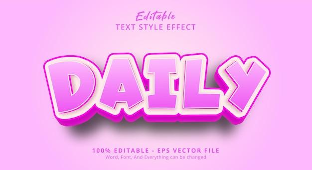 Bewerkbaar teksteffect, dagelijkse tekst op vrolijke roze kleurstijl
