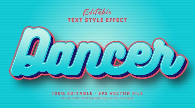 Bewerkbaar teksteffect, dansertekst op glad blauw stijleffect