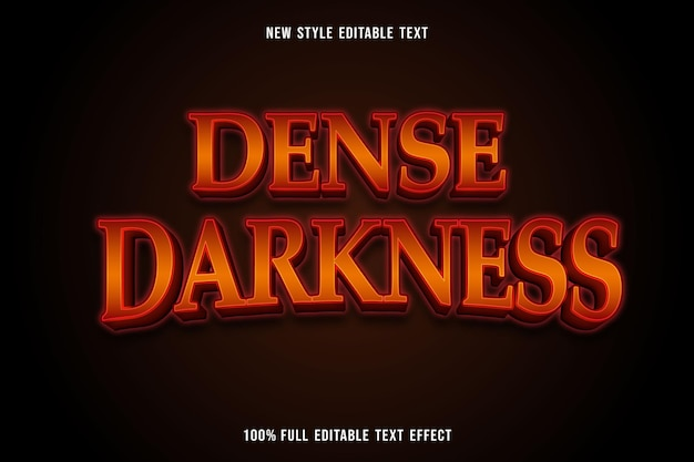 Bewerkbaar teksteffect dichte duisternis in oranje en rood
