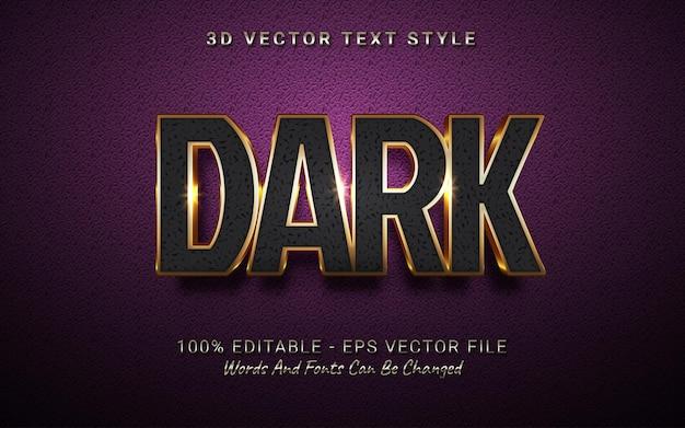 Bewerkbaar teksteffect donkere 3d-stijl