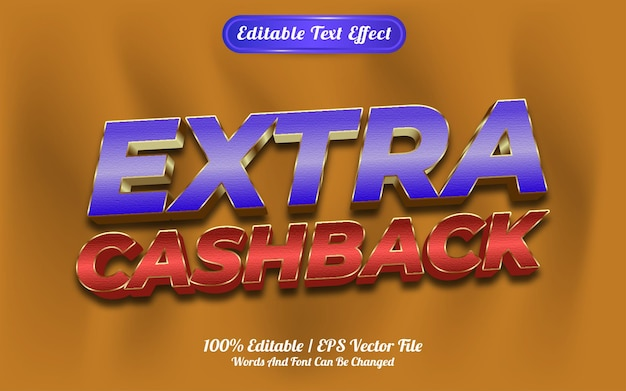 Bewerkbaar teksteffect extra cashback-sjabloonstijl