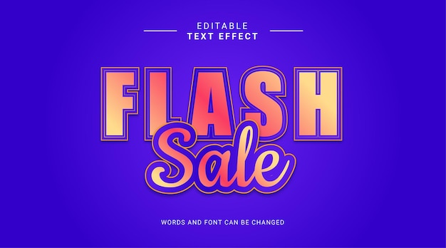 Bewerkbaar teksteffect flash-verkoop vetgedrukt met geelblauwe verloopkleur