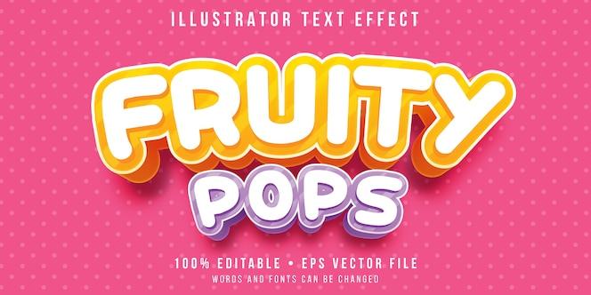 Bewerkbaar teksteffect - fruitige snoepstijl