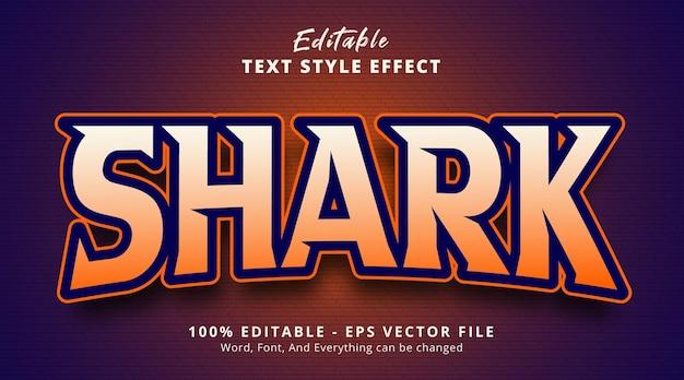 Bewerkbaar teksteffect, gaming shark-tekst met logo-gamestijleffect Premium Vector