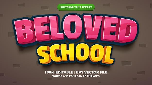 Bewerkbaar teksteffect - geliefde 3d-sjabloon voor schoolcartoons