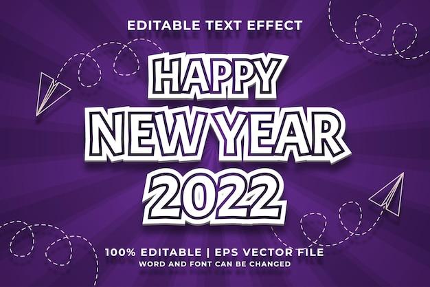 Bewerkbaar teksteffect - gelukkig nieuwjaar 2022 sjabloonstijl premium vector