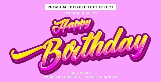 Bewerkbaar teksteffect gelukkige verjaardag