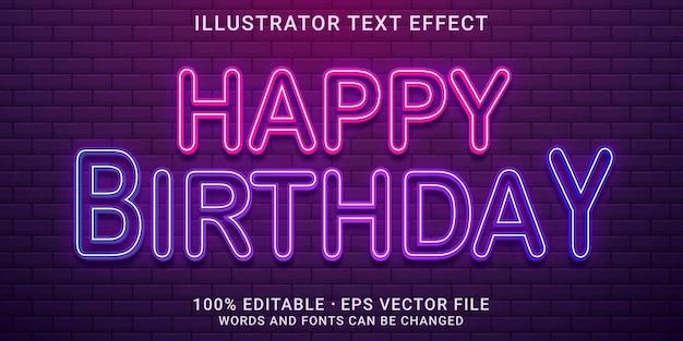 Bewerkbaar teksteffect gelukkige verjaardagsstijl