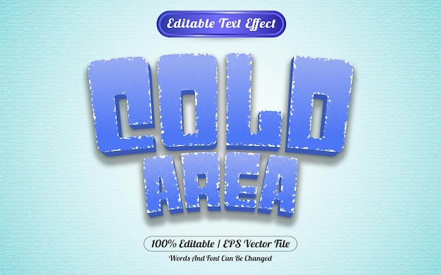 Bewerkbaar teksteffect gesmolten koude gebied sjabloonstijl