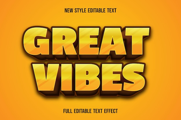 Bewerkbaar teksteffect geweldige vibes kleur geel en bruin