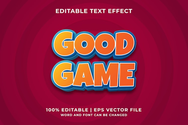 Bewerkbaar teksteffect - goede spelstijlsjabloon premium vector