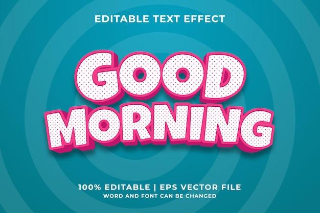 Bewerkbaar teksteffect - goedemorgen 3d-sjabloonstijl premium vector