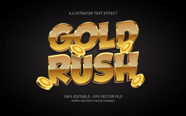 Bewerkbaar teksteffect, gold rush-stijlillustraties