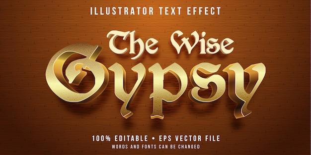 Bewerkbaar teksteffect - gouden zigeunerstijl