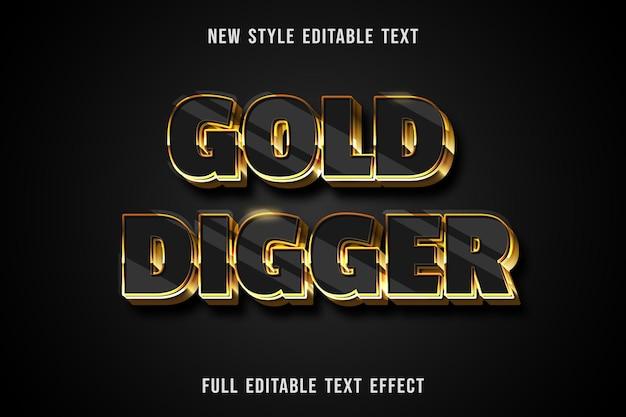 Bewerkbaar teksteffect goudzoekerkleur zwart en goud