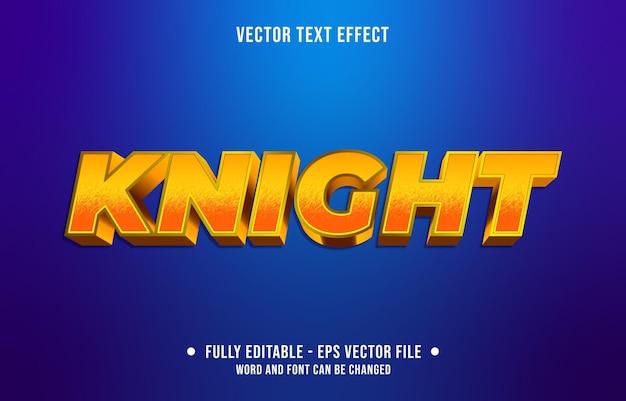 Bewerkbaar teksteffect gradiëntstijl ridder met oranje en gele kleur